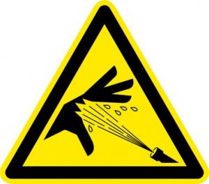 Warnschild Warnzeichen Handverletzung Hochdruck (© T. Michel - Fotolia.com)